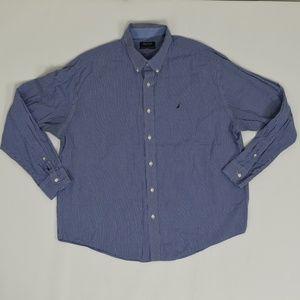 Nautica Regular 17 1/2 Blue   Button Down Cotton G